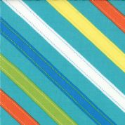 Moda - ABC Menagerie - 3095 - Multi-Coloured Diagonal Stripes on Teal - 39524-18 - Cotton Fabric